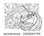 unicorn and flowers. magical... | Shutterstock .eps vector #1005841795