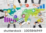 group of people with devices in ... | Shutterstock . vector #1005846949
