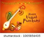 happy vasant panchami...   Shutterstock .eps vector #1005856435