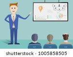 businessmen are presenting an... | Shutterstock .eps vector #1005858505