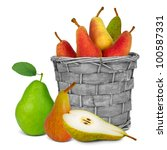Basket With Pears And Slice...