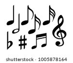 music note icons vector set ... | Shutterstock .eps vector #1005878164
