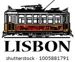old classic yellow tram of...   Shutterstock .eps vector #1005881791