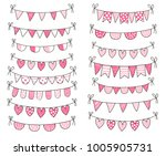 cute vector doodle buntings in... | Shutterstock .eps vector #1005905731