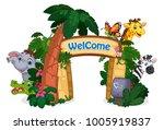 beautiful zoo entrance vector... | Shutterstock .eps vector #1005919837