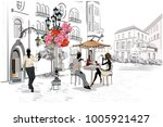 fashion people in the street... | Shutterstock .eps vector #1005921427