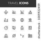 outline black icons set in thin ... | Shutterstock .eps vector #1005922459