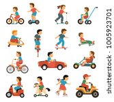 kids transport icons set with... | Shutterstock . vector #1005923701