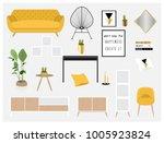 set of cool interior design... | Shutterstock .eps vector #1005923824