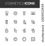 outline black icons set in thin ... | Shutterstock .eps vector #1005923959