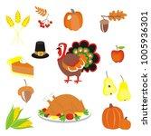 thanksgiving set  wheat  rowan  ... | Shutterstock .eps vector #1005936301