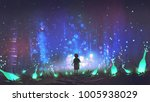 night scenery of boy walking on ... | Shutterstock . vector #1005938029