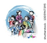holi celebrations   boy's... | Shutterstock .eps vector #1005947395