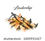people helping each other hike... | Shutterstock .eps vector #1005951427