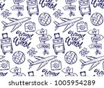 hand drawn doodle travel set.... | Shutterstock .eps vector #1005954289