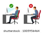ergonomics   correct and... | Shutterstock .eps vector #1005956464