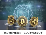 Stock photo crypto currencies arranged in a circle with a wireframe sphere and a world map on background d 1005965905