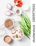 healthy vegetarian food... | Shutterstock . vector #1005975031