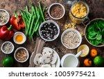 flat lay vegetarian healthy...   Shutterstock . vector #1005975421