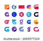 letters g   logo set  | Shutterstock .eps vector #1005977224