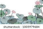 hand drawn lotus flowers with... | Shutterstock .eps vector #1005979684