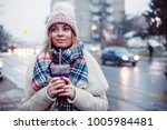 young women on city street... | Shutterstock . vector #1005984481