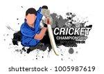 cricket championship batsman... | Shutterstock .eps vector #1005987619