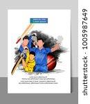 cricket championship batsman... | Shutterstock .eps vector #1005987649