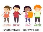illustration of stickman kids... | Shutterstock .eps vector #1005991531
