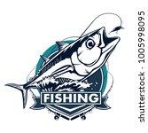 tuna big fishing on white logo... | Shutterstock .eps vector #1005998095