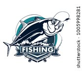 fishing emblem of  permit... | Shutterstock .eps vector #1005998281