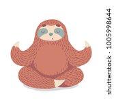Cute Cartoon Sloth Sitting In...