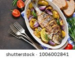baked dorado with provencal...   Shutterstock . vector #1006002841
