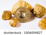 gold coin bitkoyn and a mound...   Shutterstock . vector #1006004827