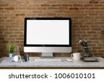 workspace mockup with desktop... | Shutterstock . vector #1006010101