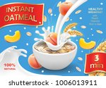bowl of oatmeal with peach oat... | Shutterstock .eps vector #1006013911