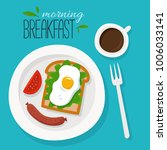breakfast with coffee  sausages ... | Shutterstock .eps vector #1006033141