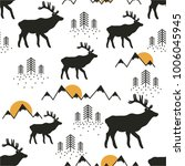 seamless pattern with deers ... | Shutterstock .eps vector #1006045945