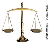 Gold Scales Of Justice Isolate...