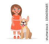 a cute little girl and a dog on ... | Shutterstock .eps vector #1006050685