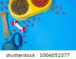 Stock photo dry dog food in bowl and pet accessories on blue background top view pet feeding concept 1006052377