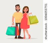 couple of young people shopping.... | Shutterstock .eps vector #1006053751