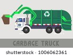 green garbage truck in flat...   Shutterstock .eps vector #1006062361