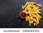 french fries with ketchup on... | Shutterstock . vector #1006063501