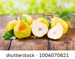 fresh pears with leaves on... | Shutterstock . vector #1006070821