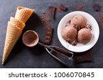 plate of chocolate ice cream... | Shutterstock . vector #1006070845
