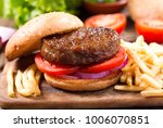 hamburger with french fries on... | Shutterstock . vector #1006070851