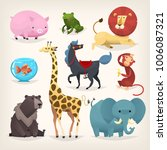 set of colorful funny cartoon... | Shutterstock .eps vector #1006087321