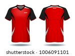 soccer jersey template.red and... | Shutterstock .eps vector #1006091101