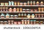 supermarket  shelves with... | Shutterstock .eps vector #1006106914